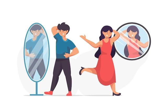 Ilustração de pessoas diferentes com auto-estima elevada