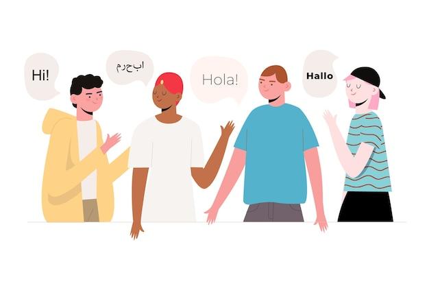 Ilustração de pessoas diferentes com bolhas do discurso