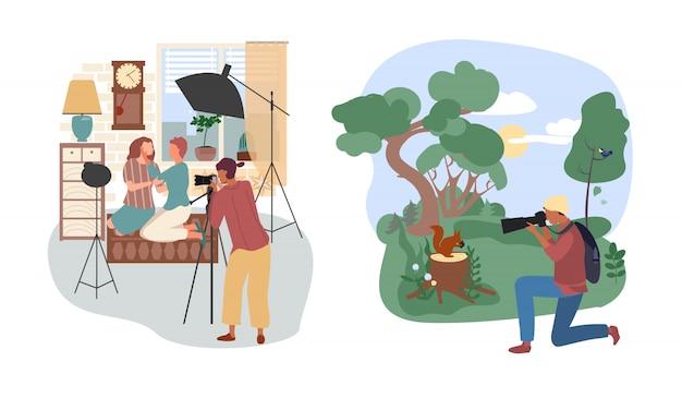 Ilustração de pessoas do estúdio ou fotógrafo ao ar livre, personagem de desenho animado mulher com câmera, homem tirar foto conjunto isolado no branco
