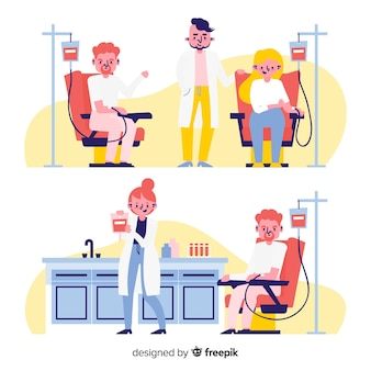 Ilustração de pessoas doando sangue