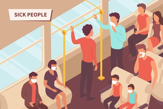 Ilustração de pessoas doentes no transporte