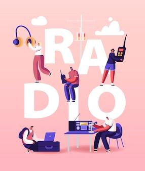 Ilustração de pessoas e rádio