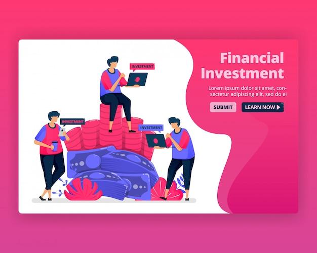 Ilustração de pessoas economiza e investe em serviços bancários para aumentar o valor da riqueza. investimento em moeda no mercado monetário.