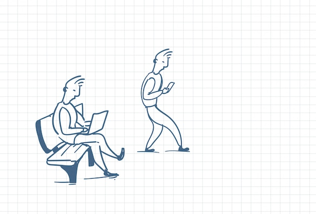 Ilustração de pessoas em cativeiro de tecnologia