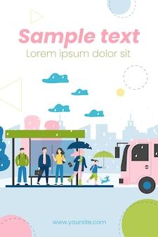 Ilustração de pessoas esperando ônibus no ponto de ônibus em dia chuvoso