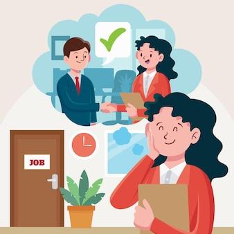 Ilustração de pessoas esperando para entrevista de emprego