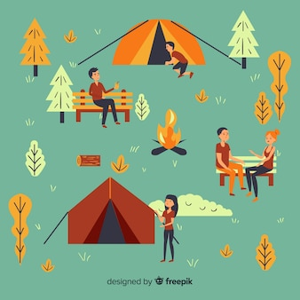 Ilustração, de, pessoas, fazendo, acampamento