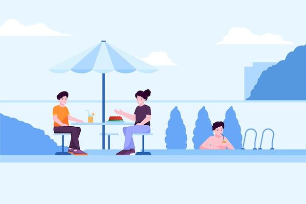 Ilustração de pessoas fazendo atividades ao ar livre no verão