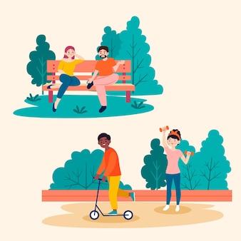 Ilustração de pessoas fazendo atividades ao ar livre