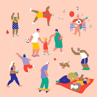 Ilustração de pessoas fazendo atividades em um parque