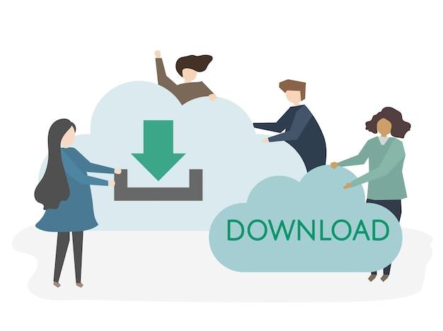 Ilustração de pessoas fazendo download de informações