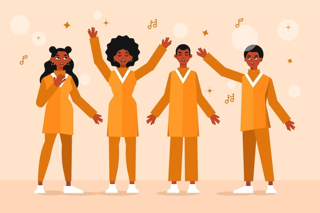 Ilustração de pessoas felizes cantando em um coro gospel
