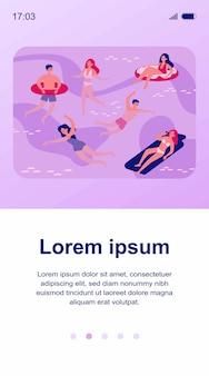 Ilustração de pessoas felizes nadando no mar