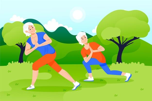 Ilustração de pessoas idosas ativas