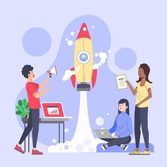 Ilustração de pessoas iniciando um projeto empresarial