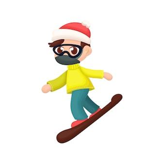Ilustração de pessoas jogando snowboard com estilo cartoon