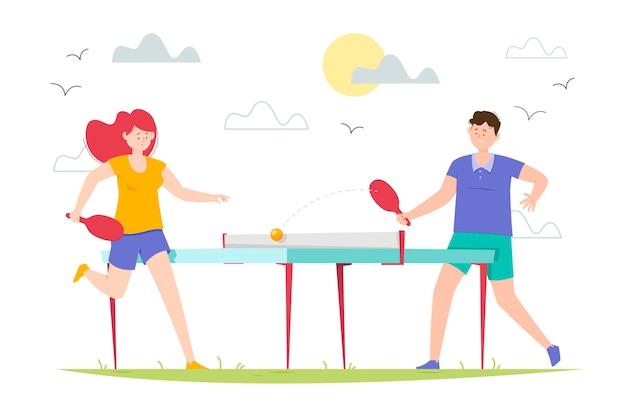 Ilustração de pessoas jogando tênis de mesa