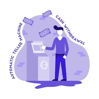Ilustração, de, pessoas, levando dinheiro, de, atm, máquina
