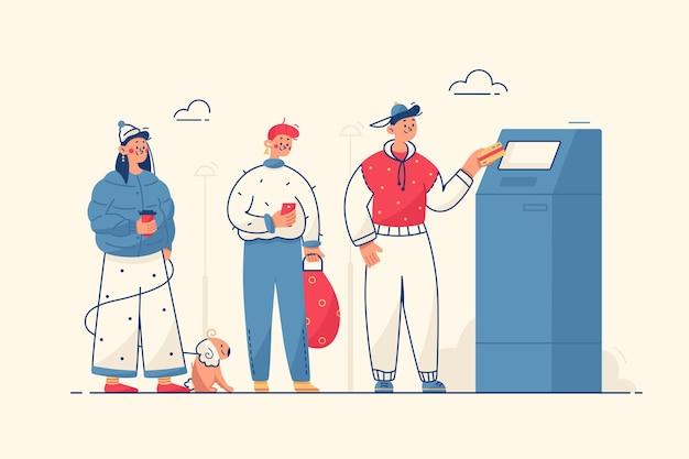 Ilustração de pessoas na caixa eletrônico
