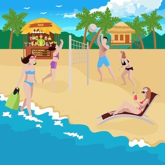 Ilustração de pessoas na praia com vista da costa e da praia com bangalô de bar e playground de vôlei