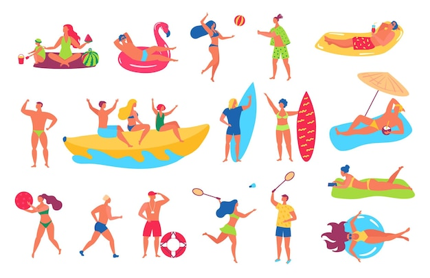 Ilustração de pessoas na praia