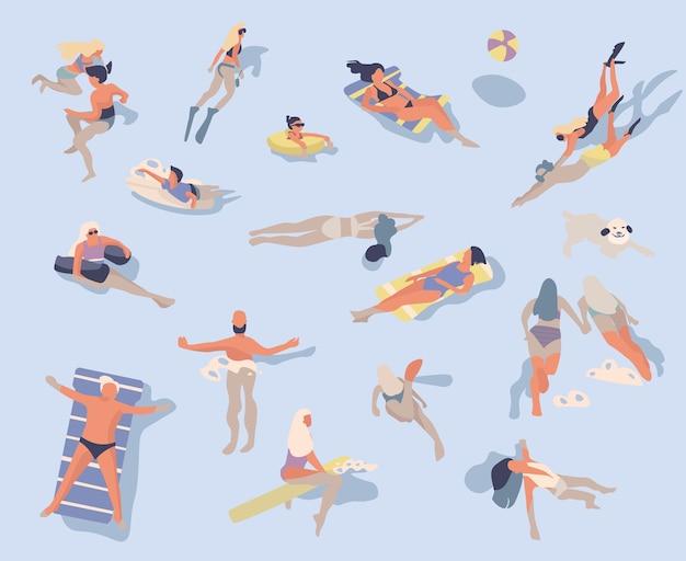 Ilustração de pessoas nadando