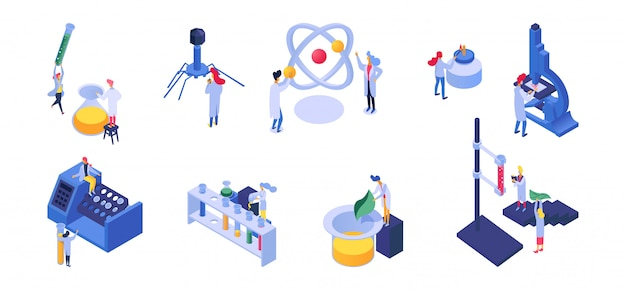 Ilustração de pessoas nano tecnologia e ciência isométrica, conjunto de desenvolvimento de nanotecnologia