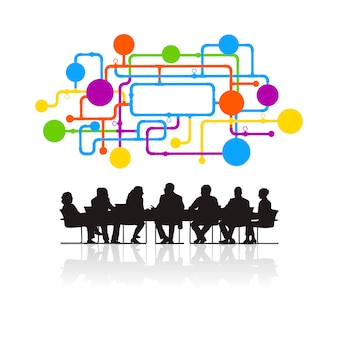 Ilustração, de, pessoas negócio, em, a, reunião
