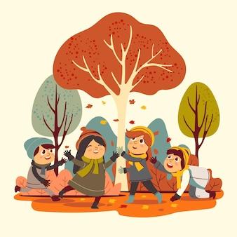 Ilustração de pessoas no parque de outono