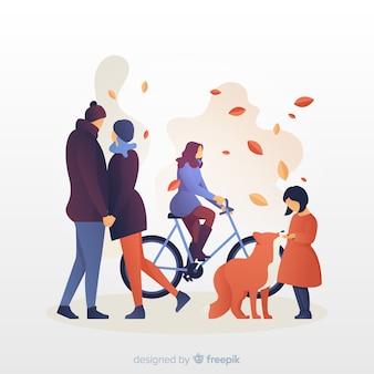 Ilustração de pessoas no parque outono