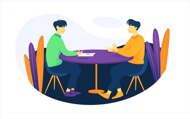 Ilustração de pessoas no processo de entrevista