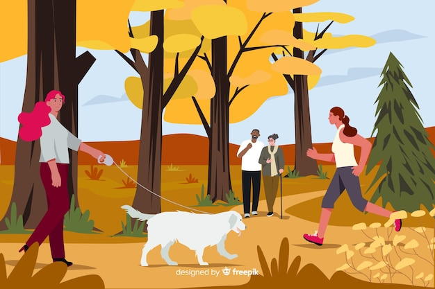Ilustração, de, pessoas, parque