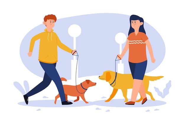 Ilustração de pessoas passeando com seu cachorro