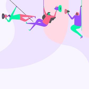 Ilustração de pessoas penduradas no teto com megafones fazendo nova linha da equipe de anúncios