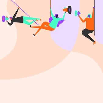 Ilustração de pessoas penduradas no teto com megafones fazendo novo anúncio. desenho de linha da equipe balançando no topo usando megafone para promover anúncios tardios.
