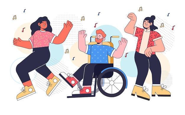 Ilustração de pessoas planas dançando