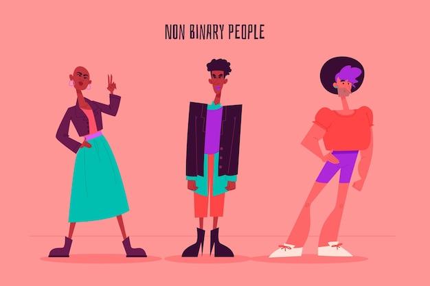 Ilustração de pessoas planas e não binárias orgânicas Vetor grátis