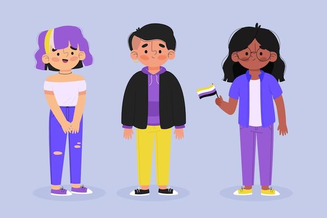 Ilustração de pessoas planas e não binárias orgânicas