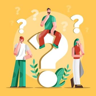 Ilustração de pessoas planas fazendo perguntas