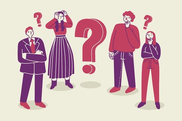 Ilustração de pessoas planas orgânicas fazendo perguntas