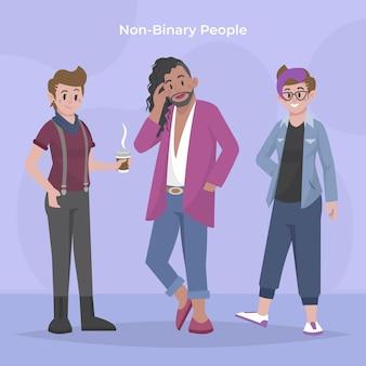 Ilustração de pessoas planas orgânicas não binárias