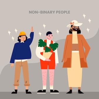 Ilustração de pessoas planas orgânicas não binárias Vetor grátis