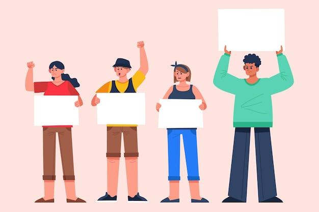 Ilustração de pessoas protestando