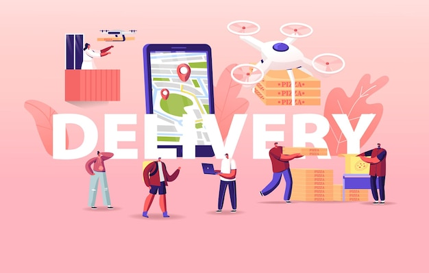 Ilustração de pessoas que usam drones para entrega de comida
