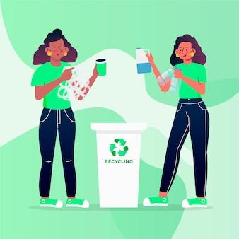 Ilustração de pessoas reciclando corretamente