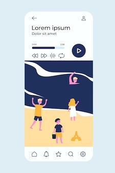 Ilustração de pessoas relaxando na praia