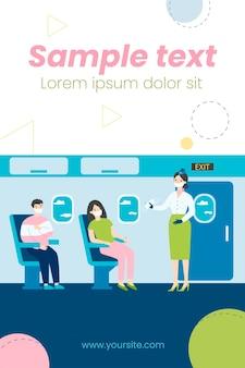 Ilustração de pessoas sentadas em um avião usando máscaras faciais