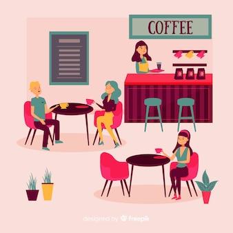 Ilustração, de, pessoas sentando, em, um, café