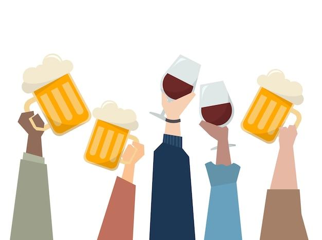Ilustração, de, pessoas, tendo uma festa