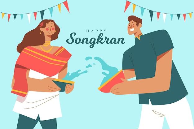 Ilustração de pessoas tocando no festival songkran